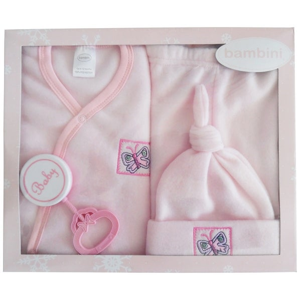 Bambini 4 Piece Fleece Set (Pink, Newborn)