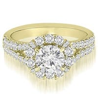 1.45 cttw. 14K Yellow Gold Halo Split-Shank Diamond Engagement Ring