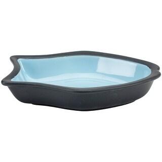 "Blue - Two Tone Color Fish Shape Design 6.5"" Stoneware Dish"