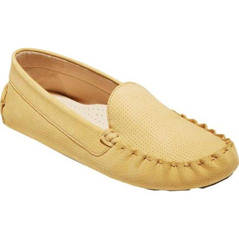 Cole Haan Women's Evelyn Driver Sunset Gold Perforated Suede/Leather