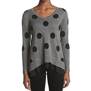 Chelsea & Theodore NEW Gray Women Size Medium M Polka-Dot V-Neck Sweater