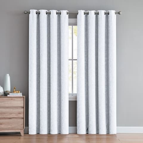 """Jerome Textured Room Darkening Window Curtain Panels 90"""" (Single, 2-Pack or 4-Pack) Multiple Colors"""