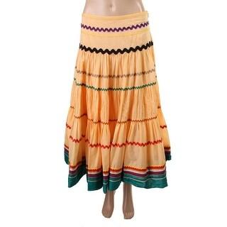 Catherine Malandrino Womens Poplin Colorblock Peasant, Boho Skirt - S