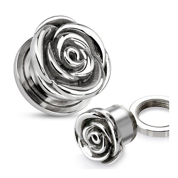 Screw-Fit Rose Tunnel Plug 316L Surgical Steel (Sold Individually)
