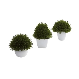 Nearly Natural Mixed Cedar Topiary Collection - Set of 3