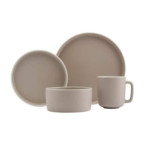 Tabletops Gallery York Taupe 16PC Round Dinnerware - Service for 4