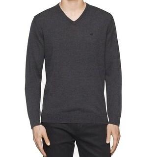Calvin Klein NEW Gray Men Small S V-Neck Long-Sleeve Pull-Over Sweater