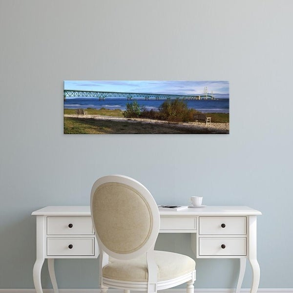 Easy Art Prints Panoramic Image 'Suspension bridge across strait, Mackinac Bridge, Mackinaw City, Michigan' Canvas Art