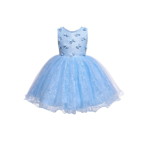 Rain Kids Sky Blue 3D Floral Accented Lace Flower Girl Dress Baby Girls