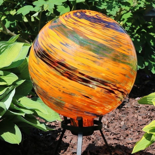 Sunnydaze Sunset Sky Glass Outdoor Gazing Ball Globe - 10-Inch - Set of 2 - Set of 2
