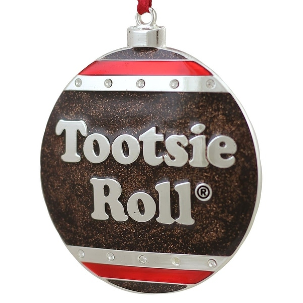 """3.5"""" Silver Plated Tootsie Roll Candy Logo Christmas Ornament with European Crystals"""
