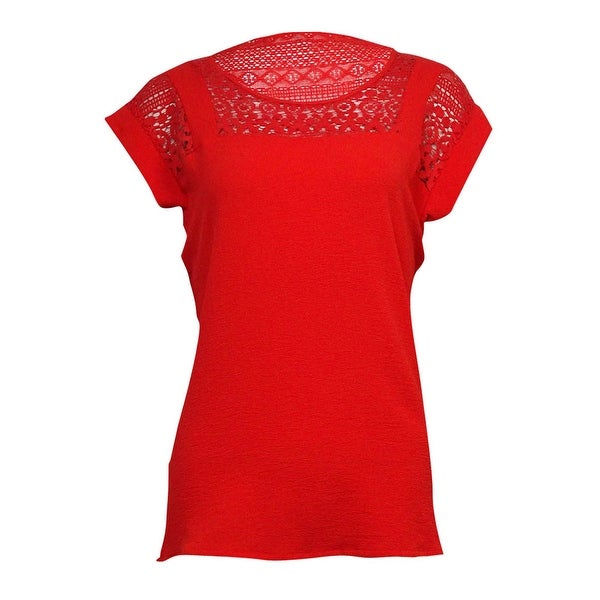 NY Collection Women's Illusion Lace Crepe Top - Flame Nickel - XS