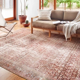 Link to Alexander Home Isabelle Boho Vintage Distressed Printed Area Rug Similar Items in Rugs