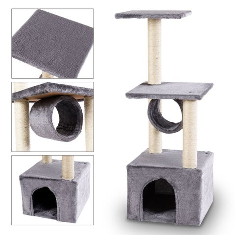 Gymax Deluxe 37'' Cat Tree Condo Furniture Play Toy Scratch Post Kitten Pet House Gray