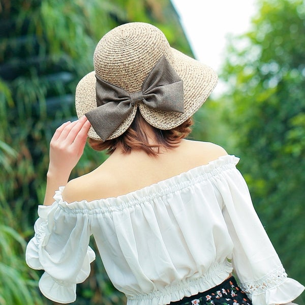 Women's Sunscreen Straw Hat With Split Big Bow. Opens flyout.