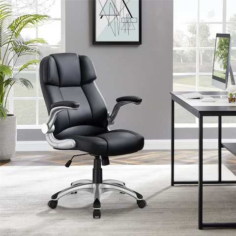 Leather Office Chair with Flip-Up Arms and Lumbar Support