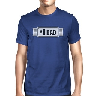 #1 Dad Mens Blue Cotton T-Shirt Vintage Design Graphic Tee For Dad