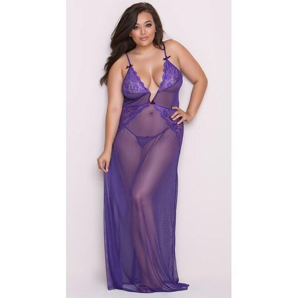 Plus Size Lace And Mesh Lingerie Gown, Plus Size Purple Lingerie ...