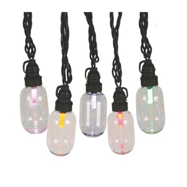 Set 25 LED T11 Oblong Edison Style Multi-Color Christmas Lights - Black Wire - multi