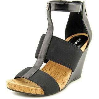 BCBGeneration Barlee Women Open Toe Canvas Black Wedge Sandal