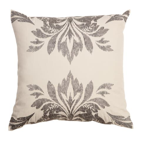 """Arden Selections Home 20"""" Throw Pillow - Cream and Grey Embroidered Damask"""