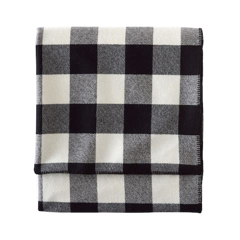 Pendleton Eco-wise Queen Black/Ivory Check Washable Wool Blanket