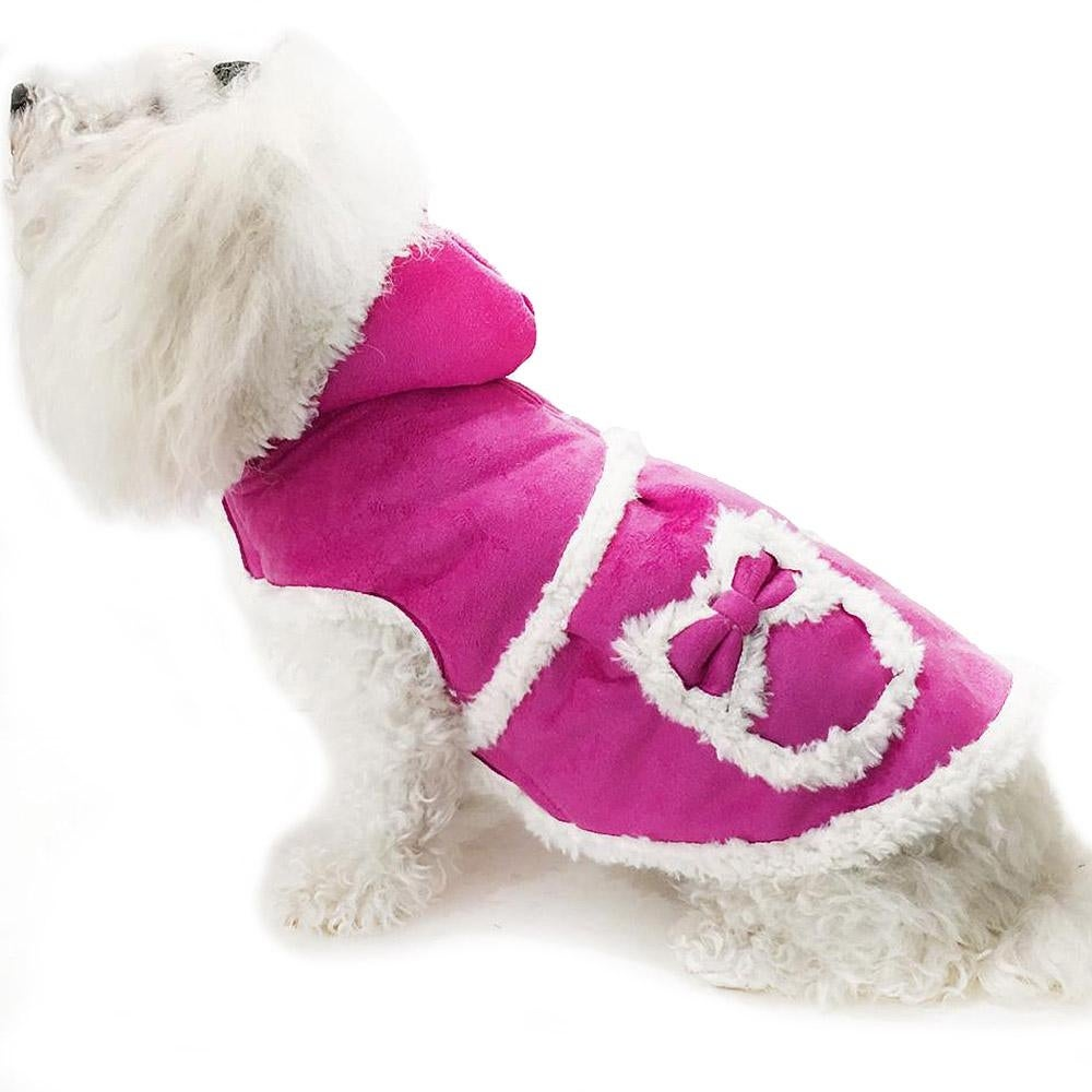 Daisy and Lucy Faux Shearling Hooded Dog Coat - Pink (Pink - Size 14)