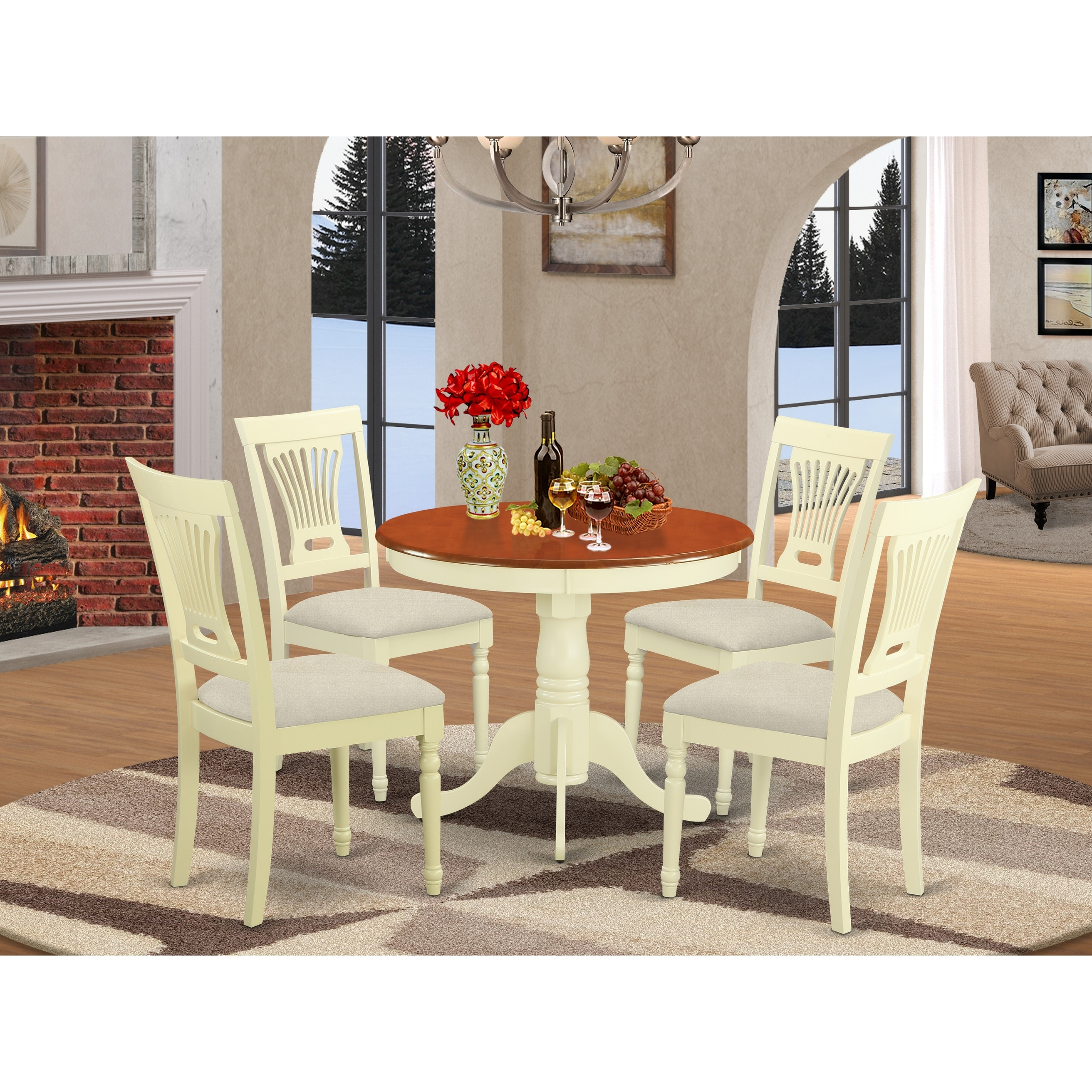 5 Piece Kitchen Table Set And 4 Chairs For Dining Room Overstock 10195736