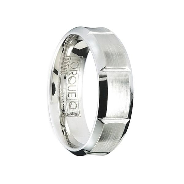 CERVANTES Brushed Men's Cobalt Wedding Band Center V Cut Grooves Design Polished Edges by Crown Ring - 7mm