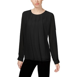 Calvin Klein Womens Blouse Chiffon Pleated