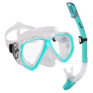 Ivation Snorkel Mask Set - Double Lens Diving Mask & Snorkel w/ Dry Top & Lower Purge Valve