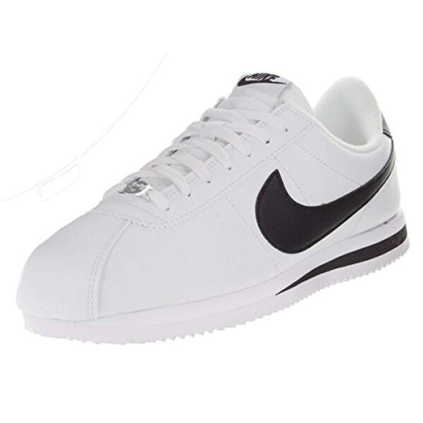 Nike Men's Cortez Basic Leather BlackWhiteMetallic Silver Casual Shoe 11