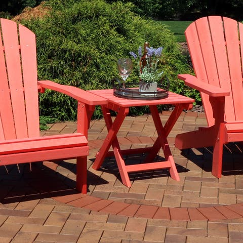 Sunnydaze All-Weather Folding Portable Side Table - Faux Wood Design - Salmon