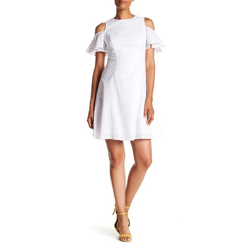Maggy London White Womens Size 10 Cold-Shoulder Eyelet Shift Dress