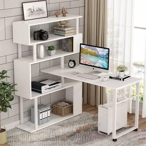 L-Shaped Rotating Computer Desk with 5 Shelves Bookshelf