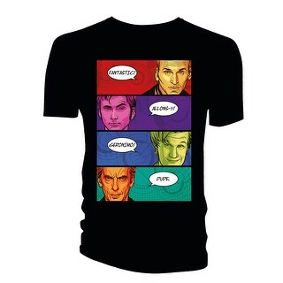 Doctor Who Classic Mens T-Shirt 4 Doctors Catchphrases Comic Book