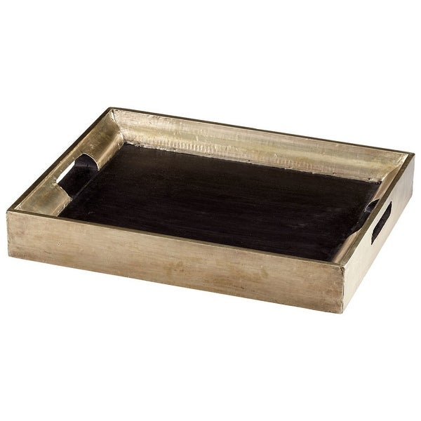 "Cyan Design Vesper Square Tray Vesper 21.75"" Wide Wood Tray Made in India - Black"