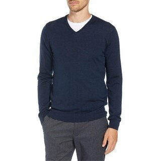 The Men's Store Bloomingdales Merino Wool V-Neck Sweater X-Large XL Steel Blue