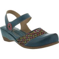 L'Artiste by Spring Step Women's Amour Closed Toe Sandal Teal Leather