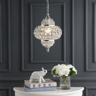 """Link to Juliette 12"""" Crystal/Metal LED Chandelier Pendant, Chrome by JONATHAN  Y Similar Items in Chandeliers"""