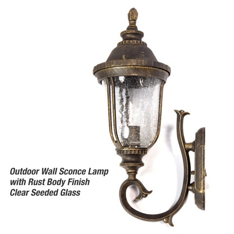 eTopLighting Brushed Bronze Finish Exterior Light Fixture - Wall Lantern