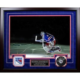 "Henrik Lundqvist ""Taking the Ice"" Collage w/ Nameplate and Signed Puck 20x24 Shadowbox"