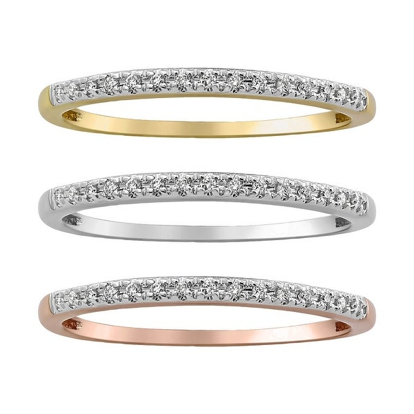 10k Gold Diamond Stackable Band Ring by Beverly Hills Charm