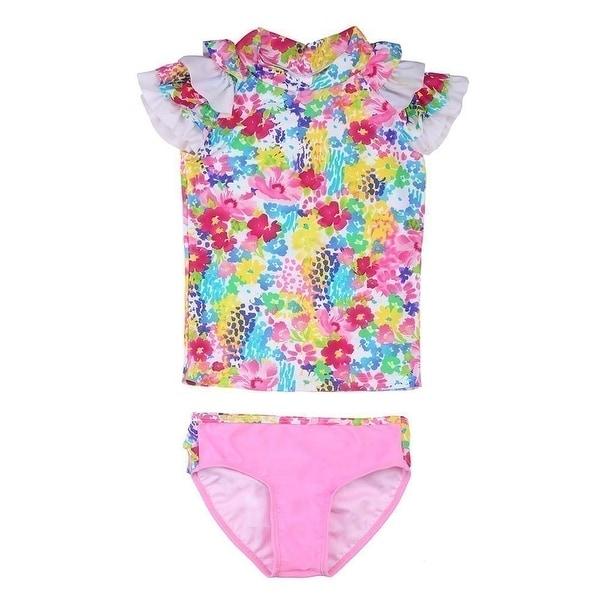 Sun Emporium Baby Girls Blue Pink Monet Floral Print Sun Shirt Bikini Set - 6-12 months