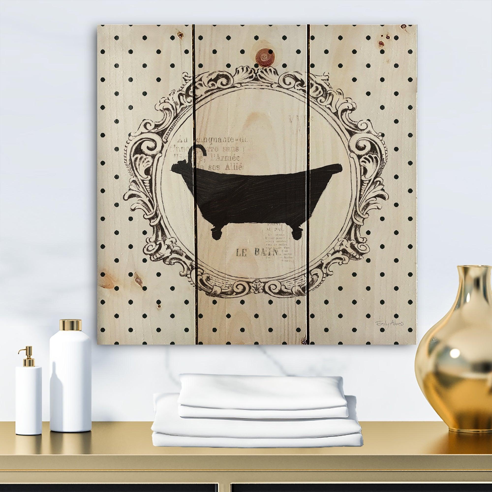 Designart Vintage French Bathroom Iii Traditional Bathroom Print On Natural Pine Wood Black Overstock 25981874