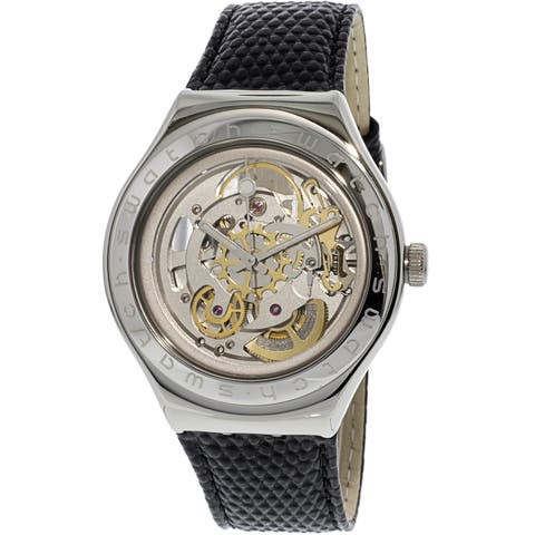 Swatch Men's Body And Soul Silver Leather Automatic Fashion Watch