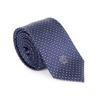 Gianni Versace Men Navy Mini Diamond Pattern 1Pure Silk Medusa Ties