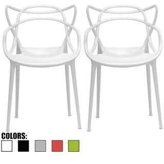 2xhome Set of 2 Modern Stacking Design Master Chair Dining Armchair with Arms Home Molded Kitchen