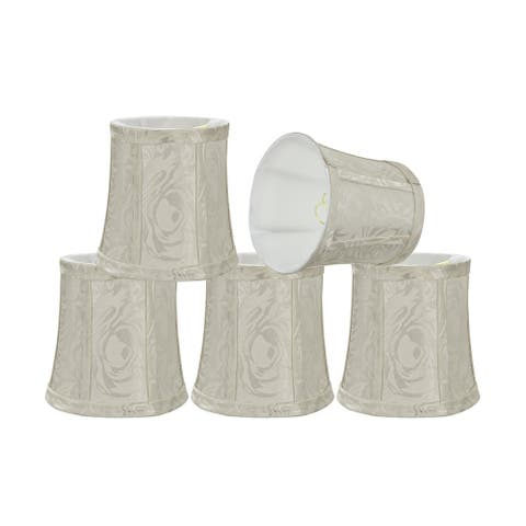 """Aspen Creative Bell Chandelier Clip-On Lamp Shade (5 Pack), Off White, (4"""" x 5"""" x 5"""")"""