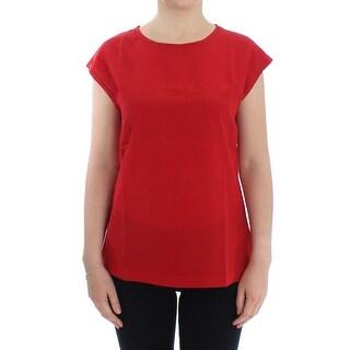 Dolce & Gabbana Dolce & Gabbana Red cap sleeve silk blouse